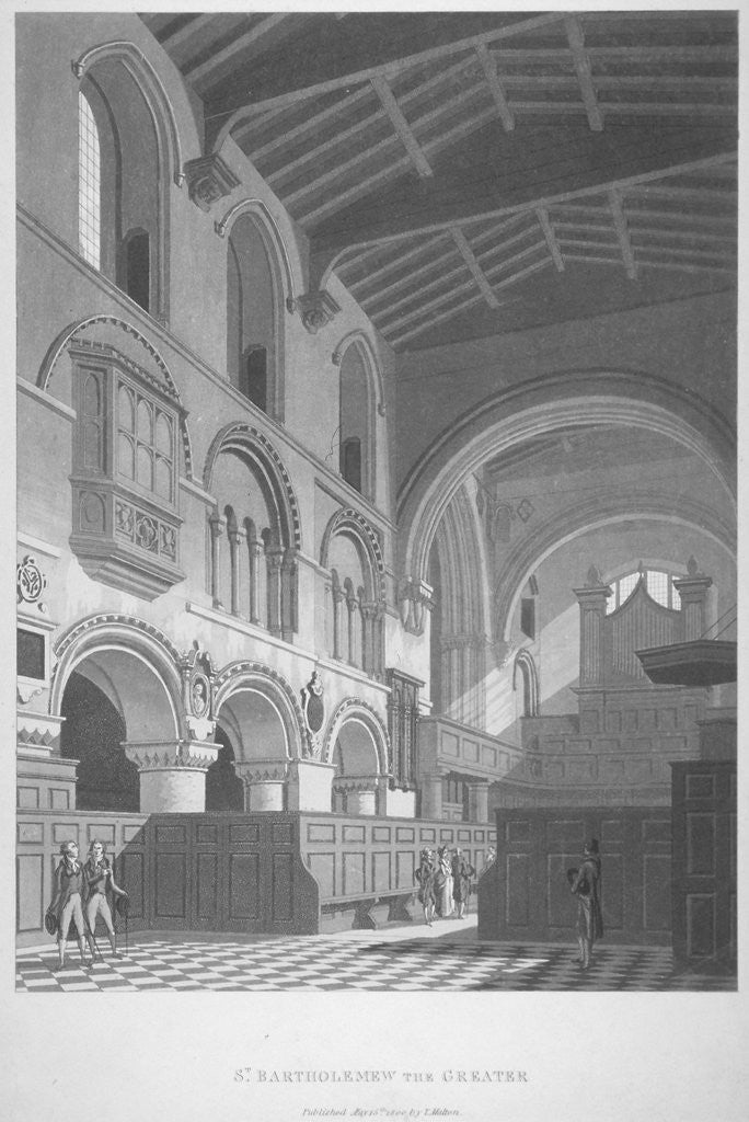 Detail of Interior view of the Church of St Bartholomew-the-Great, Smithfield, City of London by Anonymous