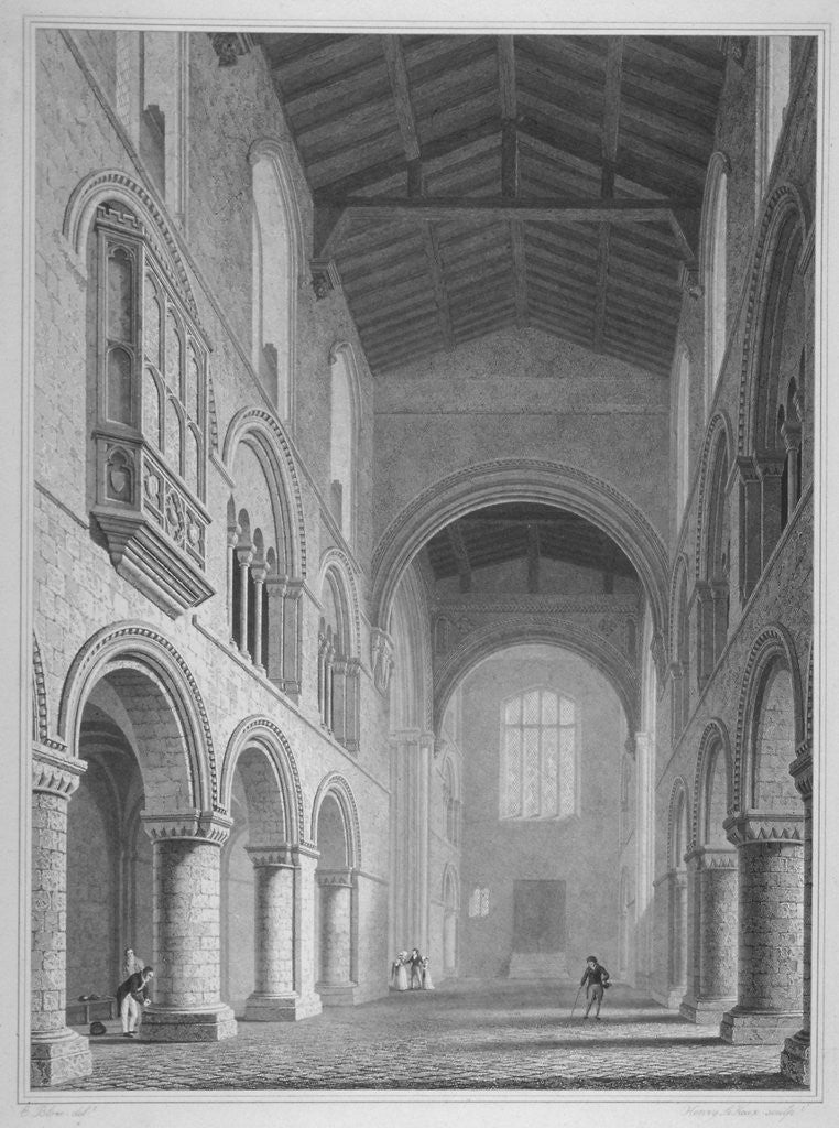 Detail of Interior view of the Church of St Bartholomew-the-Great, Smithfield, City of London by John Le Keux