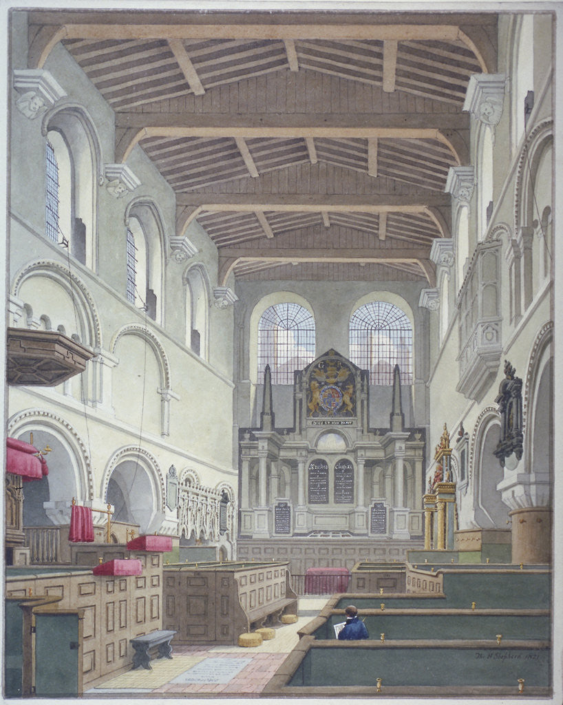 Detail of Interior view of the Church of St Bartholomew-the-Great, Smithfield, City of London by Thomas Hosmer Shepherd