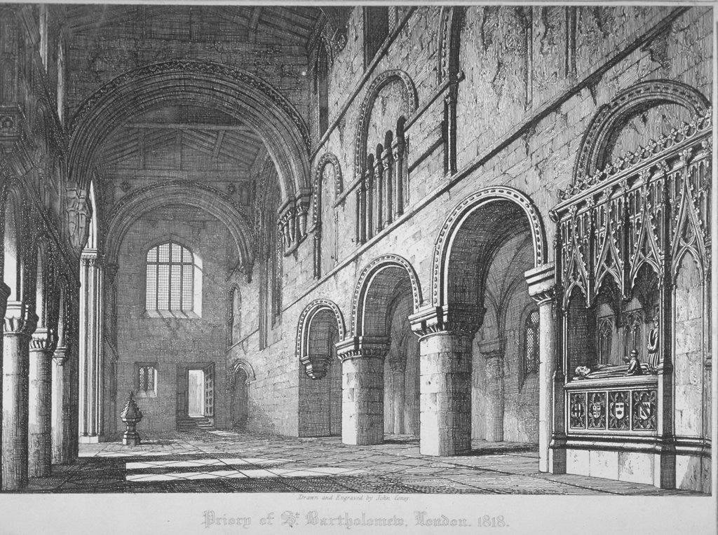 Detail of Interior view of St Bartholomew's Priory, Smithfield, City of London by John Coney