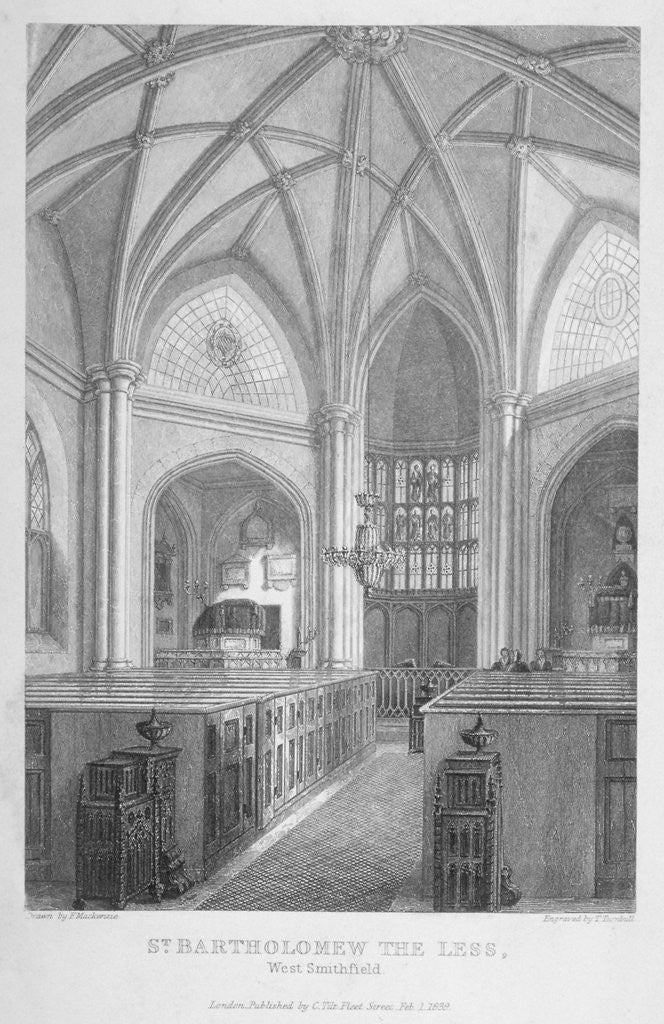 Detail of Interior of the Church of St Bartholomew-the-Less, City of London by T Turnbull
