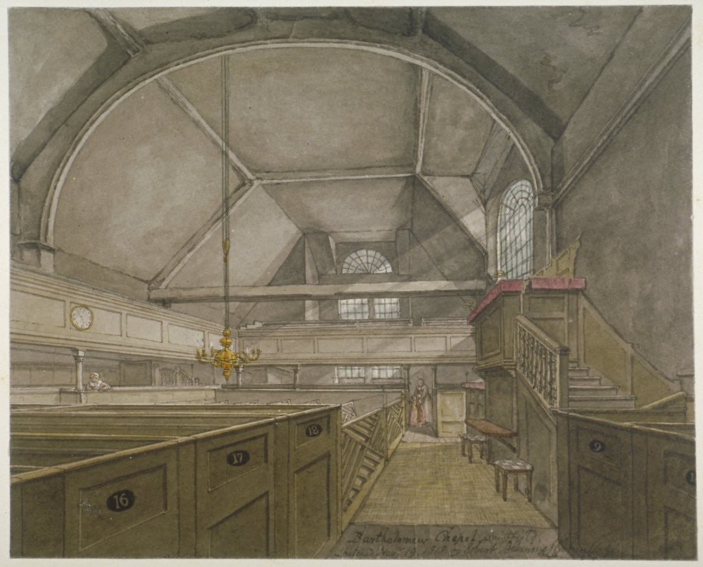 Detail of Interior of the chapel in the Church of St Bartholomew-the-Great, Smithfield, City of London by