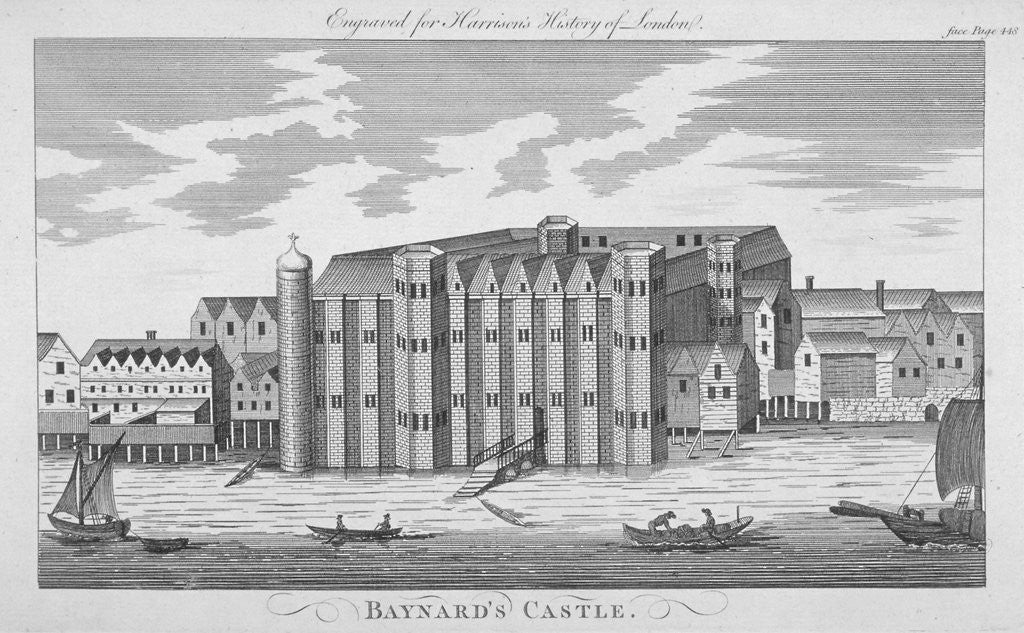 Detail of View of Baynard's Castle with boats on the River Thames, City of London by Anonymous