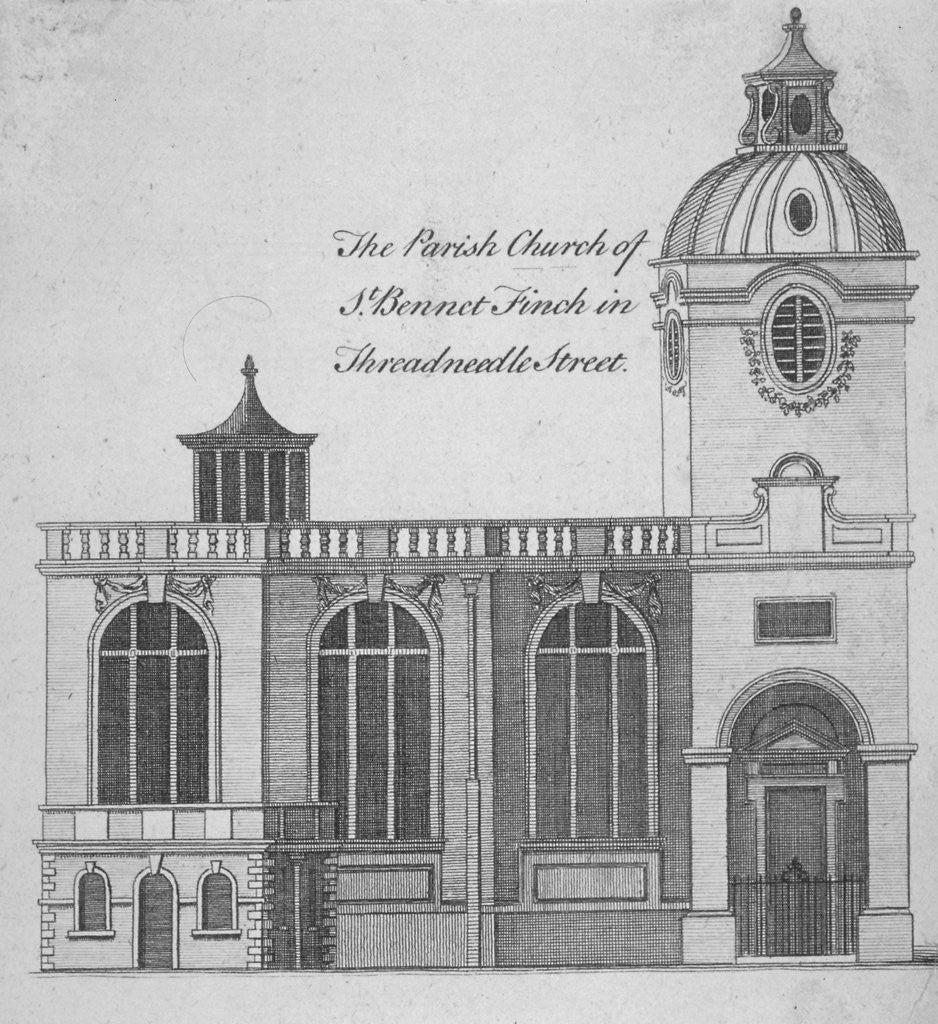 Detail of Elevation of the Church of St Benet Fink, City of London by Anonymous