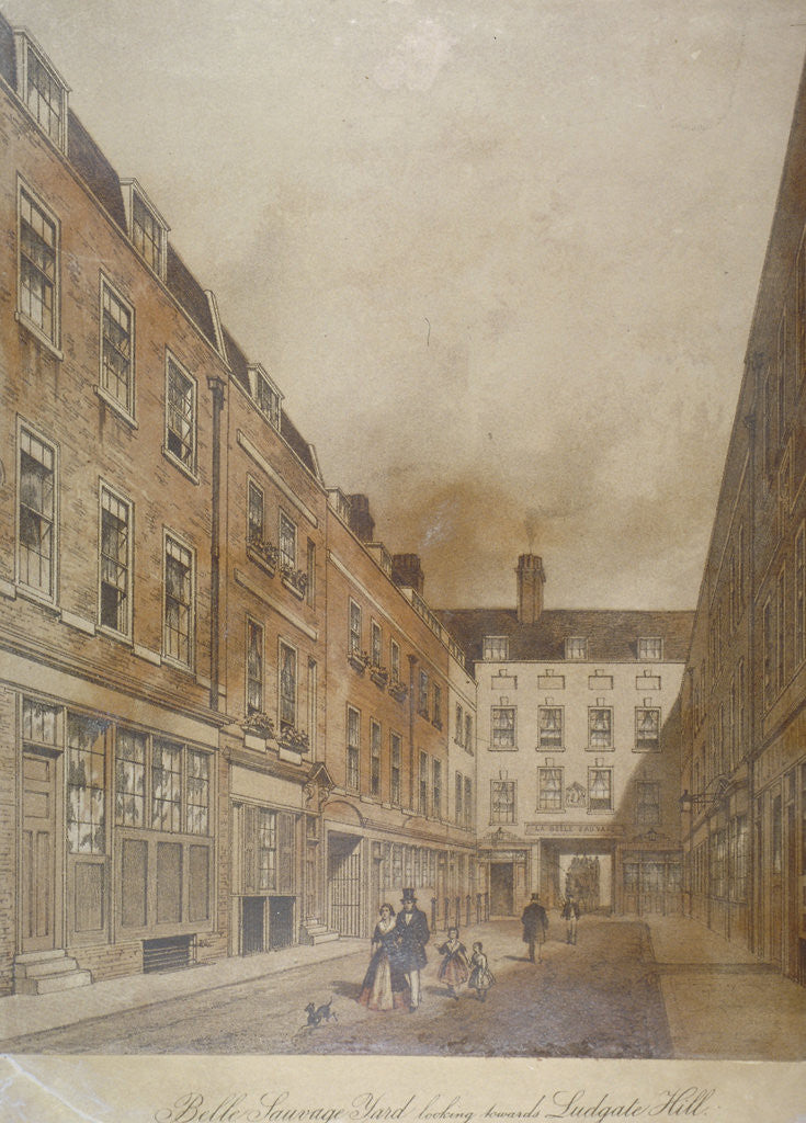Detail of Belle Sauvage Yard, looking towards Ludgate Hill, City of London by