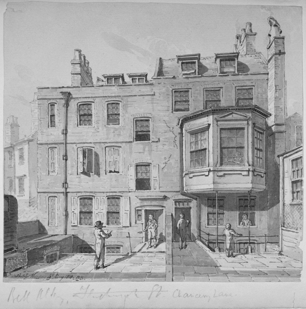 Detail of Houses in the northern section of Bell Yard, Chancery Lane, City of London by Robert Blemmell Schnebbelie