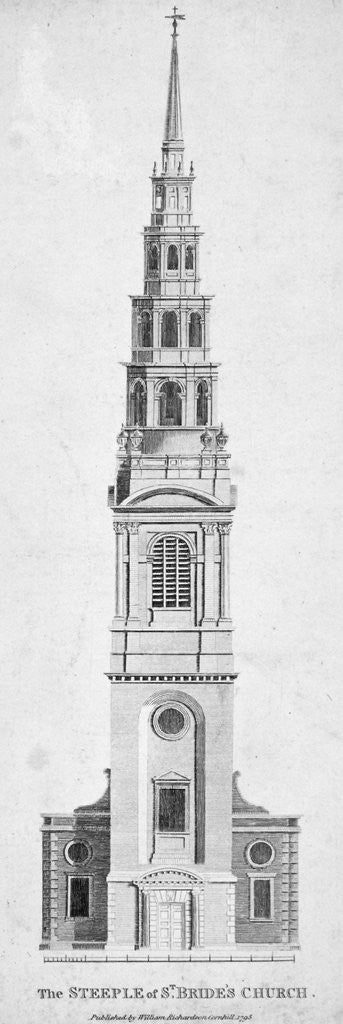 Detail of Steeple of St Bride's Church, Fleet Street, City of London by Anonymous