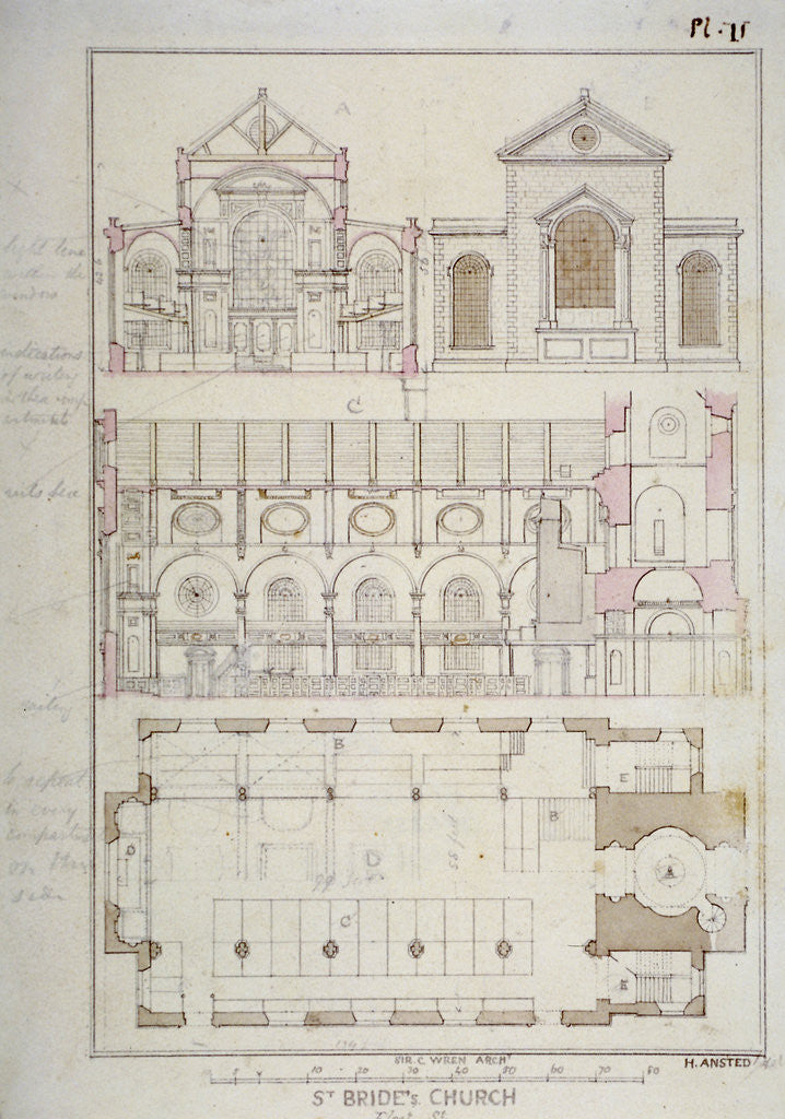 Detail of Section, elevation and ground plan of St Bride's Church, Fleet Street, City of London by H Ansted