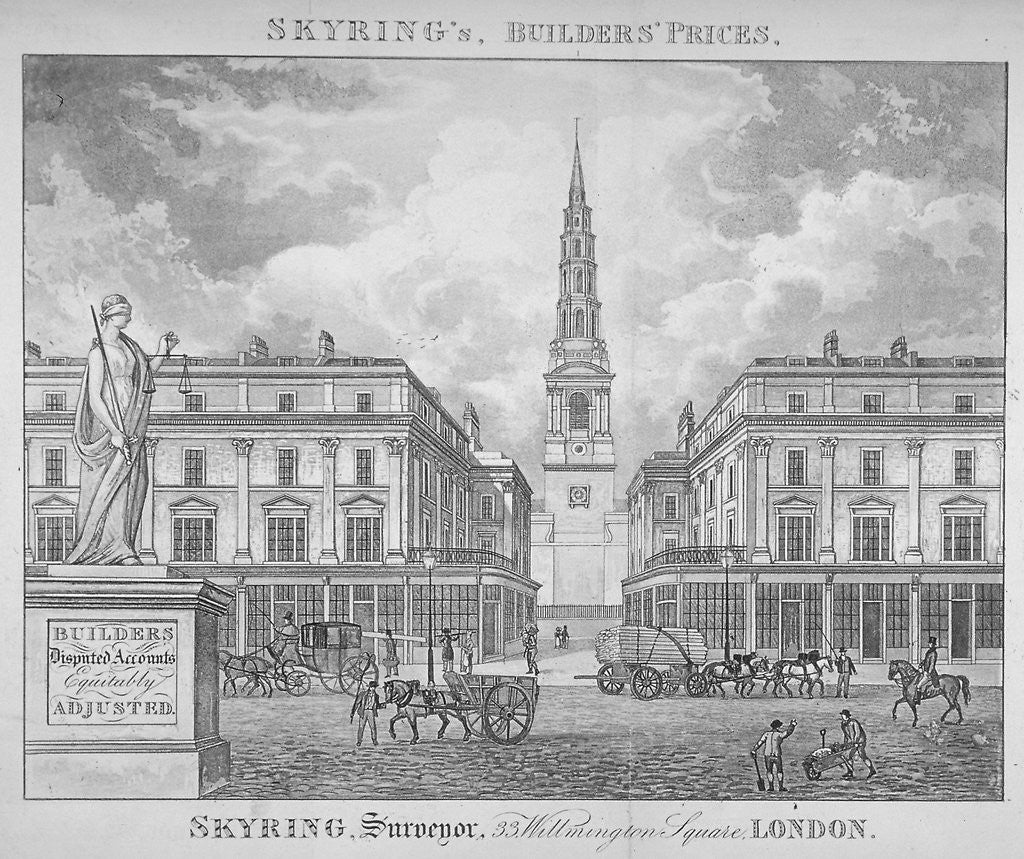 Detail of View of St Bride's Church, Fleet Street, through St Bride Avenue, City of London by Anonymous