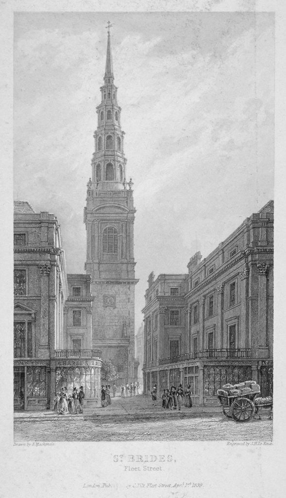 Detail of St Bride's Church, Fleet Street, City of London by John Le Keux