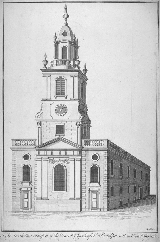 Detail of North-east view of the Church of St Botolph without Bishopsgate, City of London by Benjamin Cole