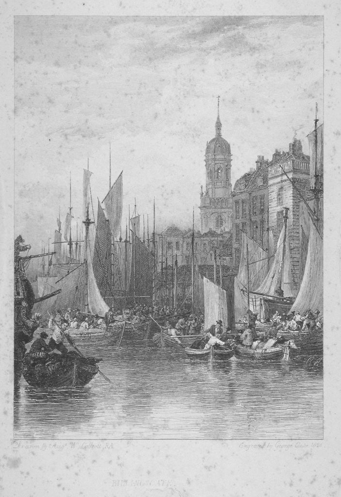 Detail of View of Billingsgate wharf with boats, City of London by Augustus Wall Callcott