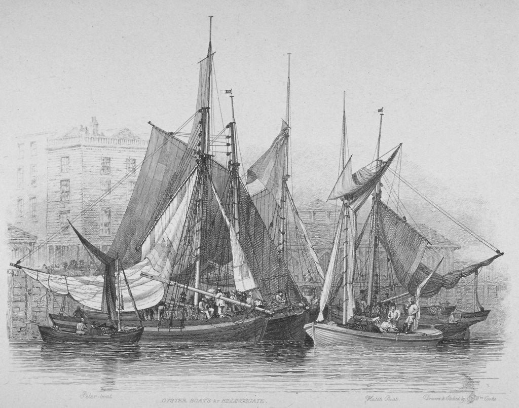 Detail of View of Billingsgate wharf with oyster boats, City of London by Edward William Cooke
