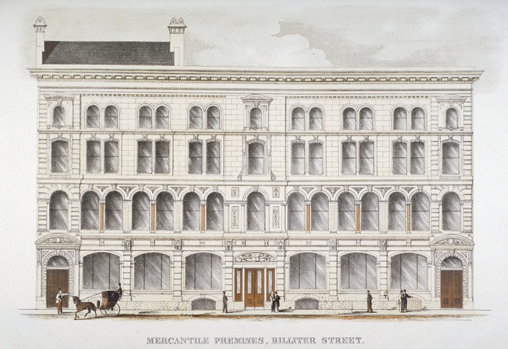 Detail of View of mercantile premises, Billiter Street, City of London by Sir Joseph Causton & Sons