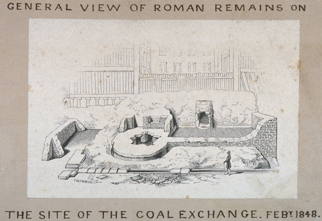 Detail of View of Roman remains on the site of the Coal Exchange, City of London by FW Fairholt