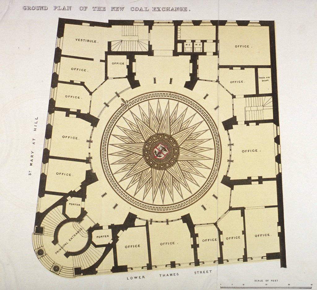 Detail of Ground plan of the New Coal Exchange in Lower Thames Street, City of London by