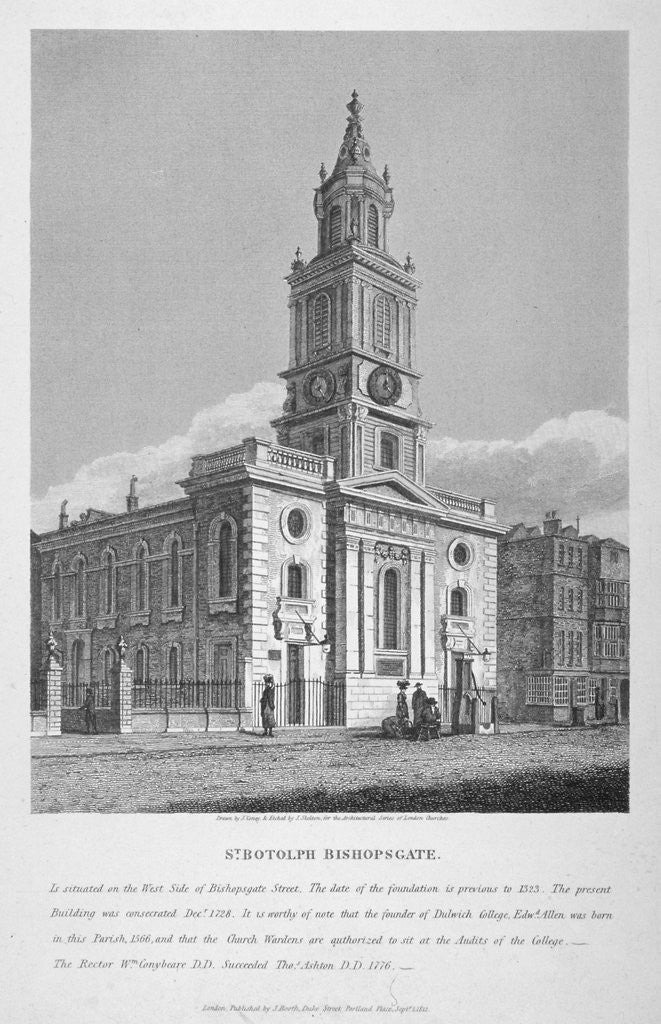 Detail of View of the Church of St Botolph without Bishopsgate, City of London by
