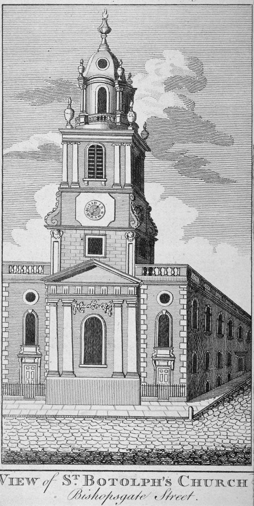 Detail of West view of the Church of St Botolph without Bishopsgate, City of London by Anonymous