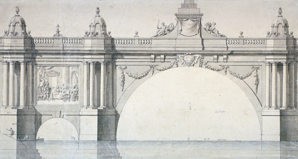 Detail of Design by Robert Mylne for a section of Blackfriars Bridge, London by Robert Mylne II