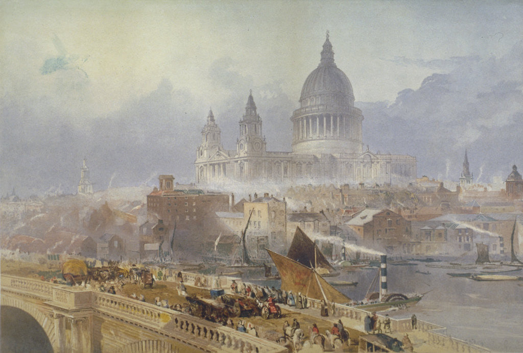 Detail of View of Blackfriars Bridge and St Paul's Cathedral, London by David Roberts