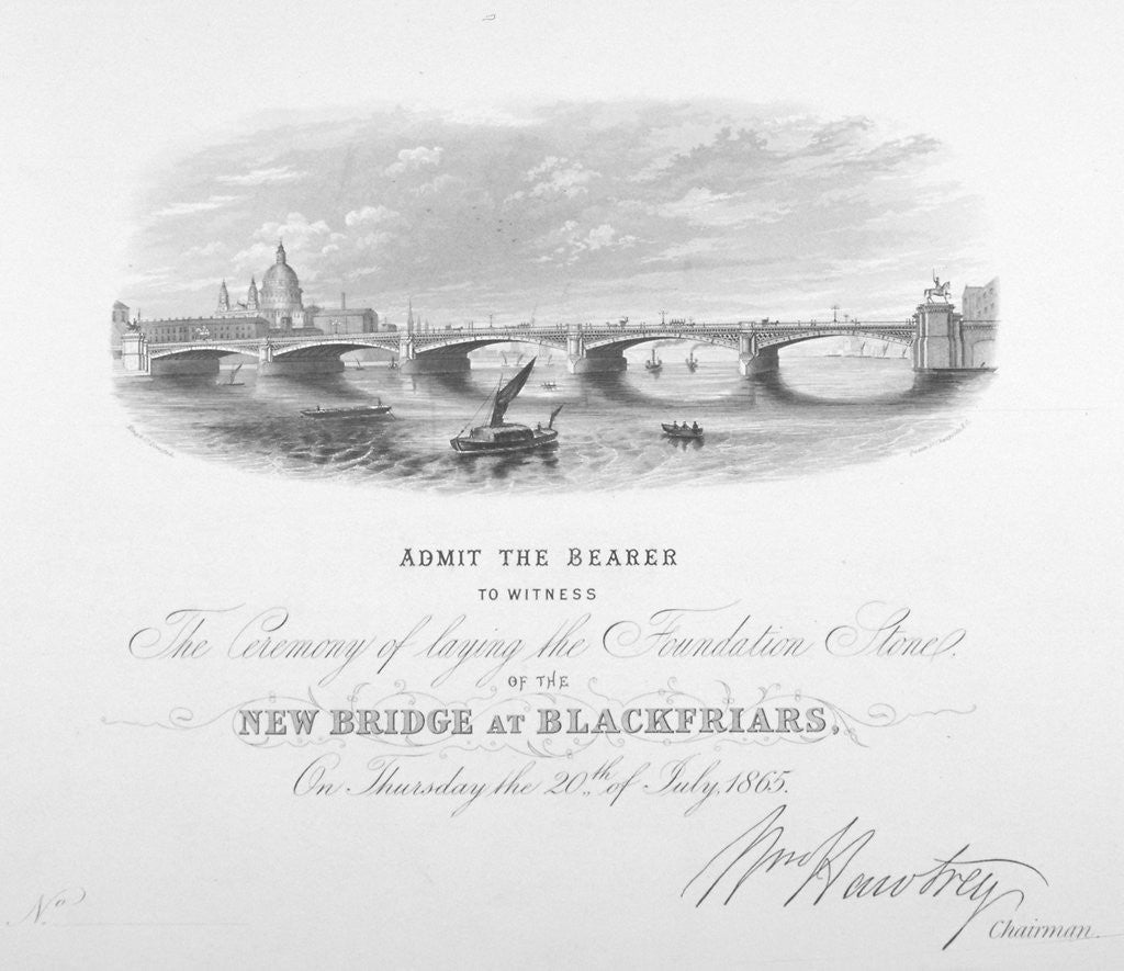 Detail of View of Blackfriars Bridge and St Paul's Cathedral, London by Anonymous
