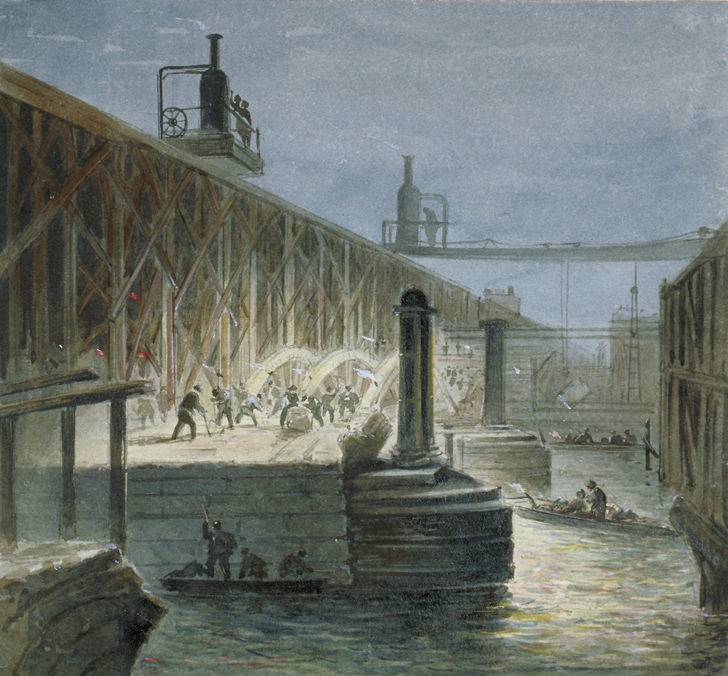 Detail of Demolition work being carried out on Blackfriars Bridge from the Surrey shore, London by George Maund