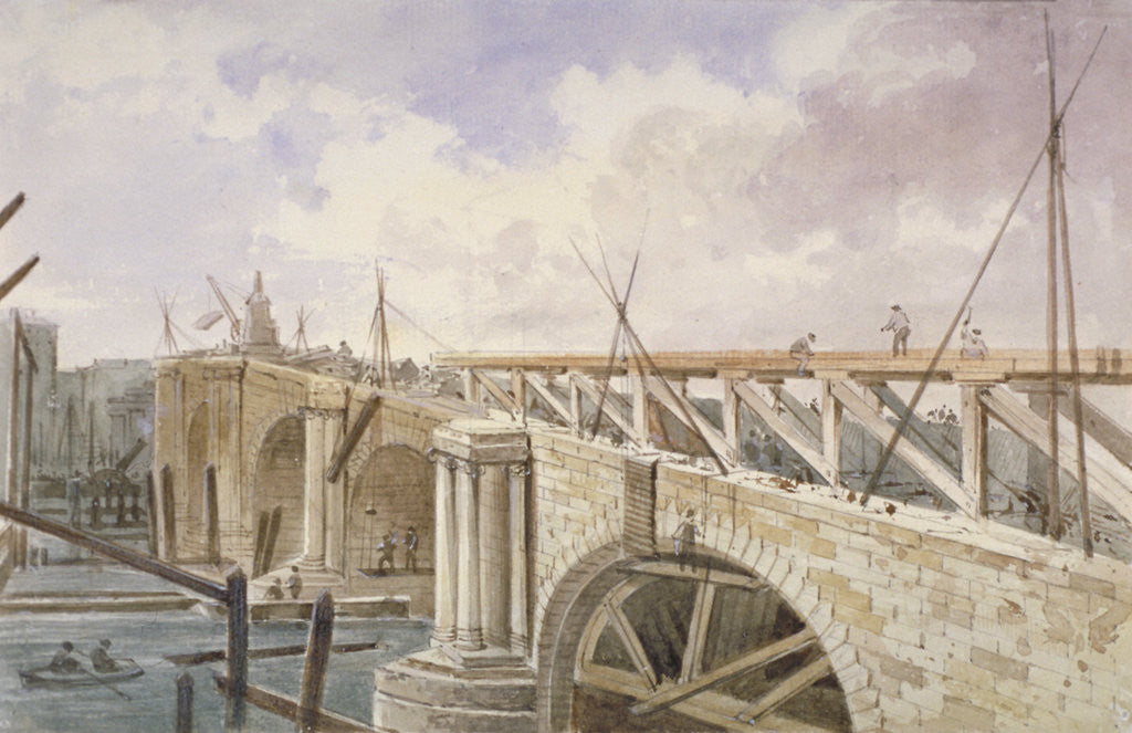 Detail of Demolition work being carried out on Blackfriars Bridge by George Maund