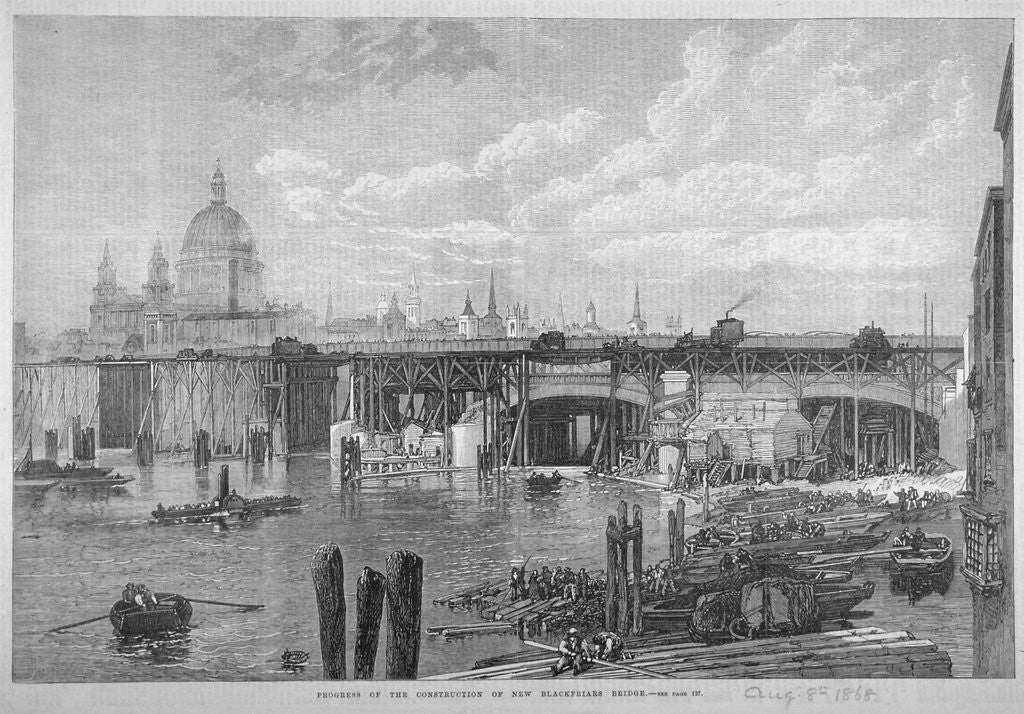 Detail of Construction work being carried out on Blackfriars Bridge, London by Anonymous