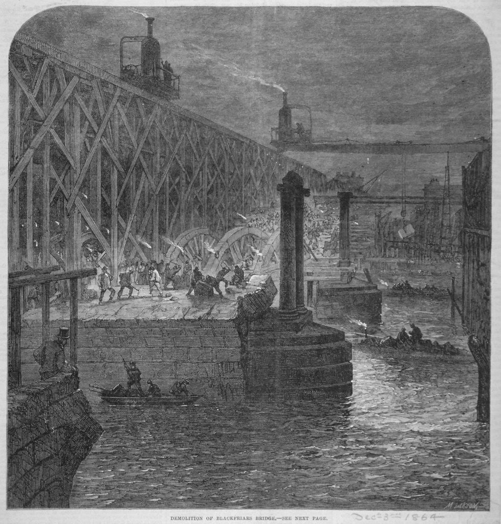 Detail of Demolition work being carried out on Blackfriars Bridge from the Surrey shore, London by Anonymous