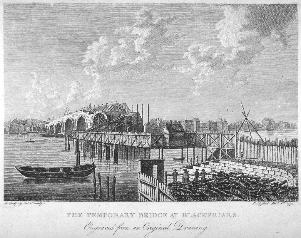Detail of View of Blackfriars Bridge under construction, London, c1762 (1775) by