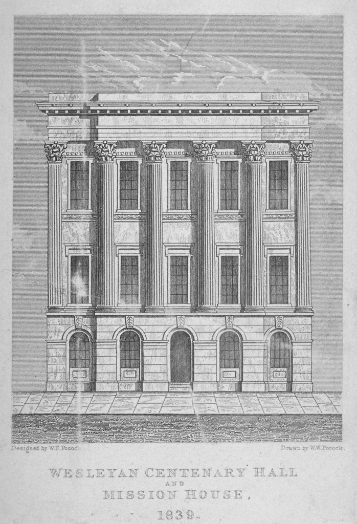 Detail of View of the Wesleyan Centenary Hall and Mission House, Bishopsgate, City of London by WW Pocock