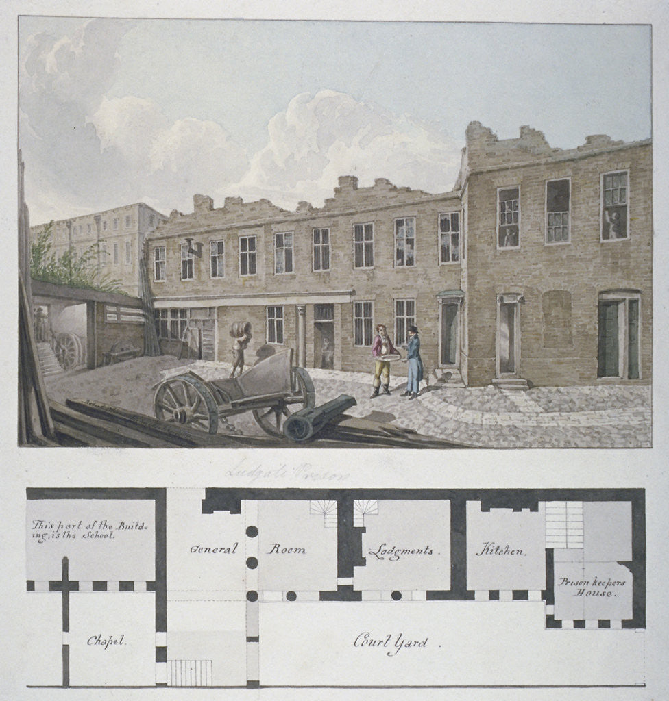Detail of Ludgate Prison with a plan of the London Workhouse, Bishopsgate, beneath, City of London by Robert Blemmell Schnebbelie