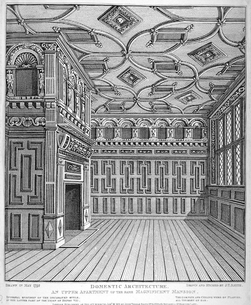 Detail of Interior view of Sir Paul Pindar's House, Bishopsgate, City of London by John Thomas Smith