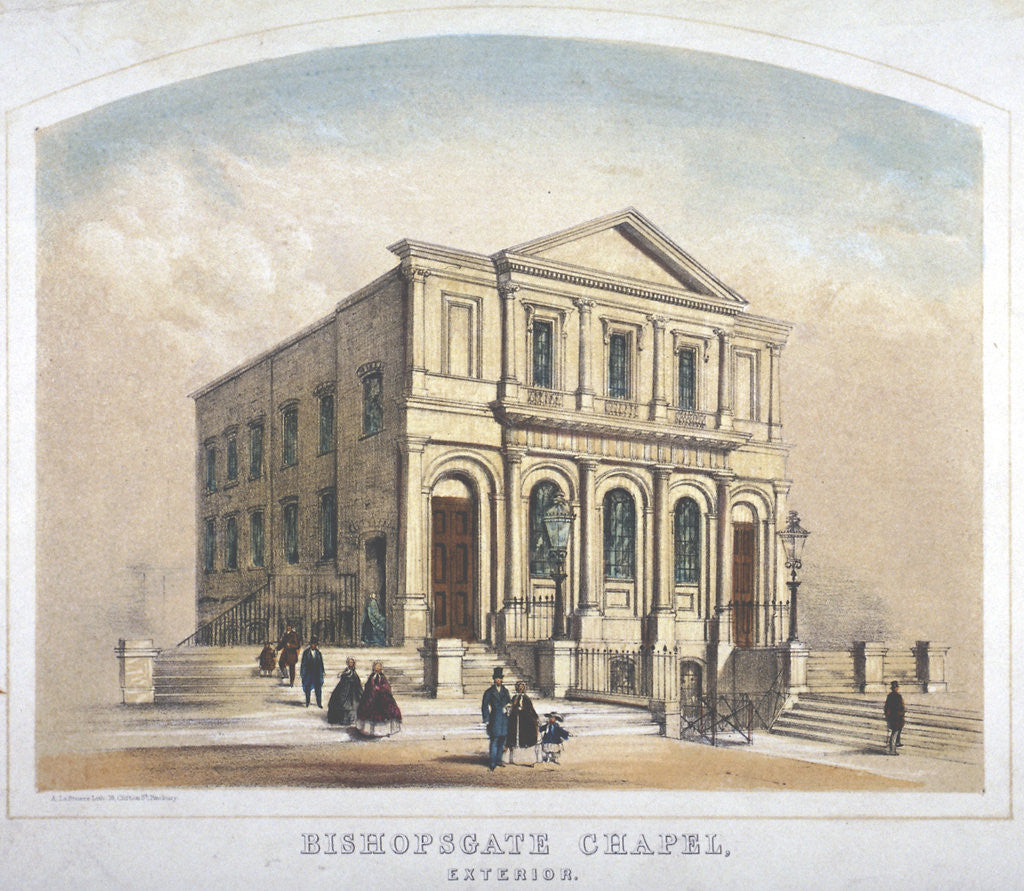 Detail of View of Bishopsgate Congregational Chapel, Bishopsgate, City of London by Anonymous