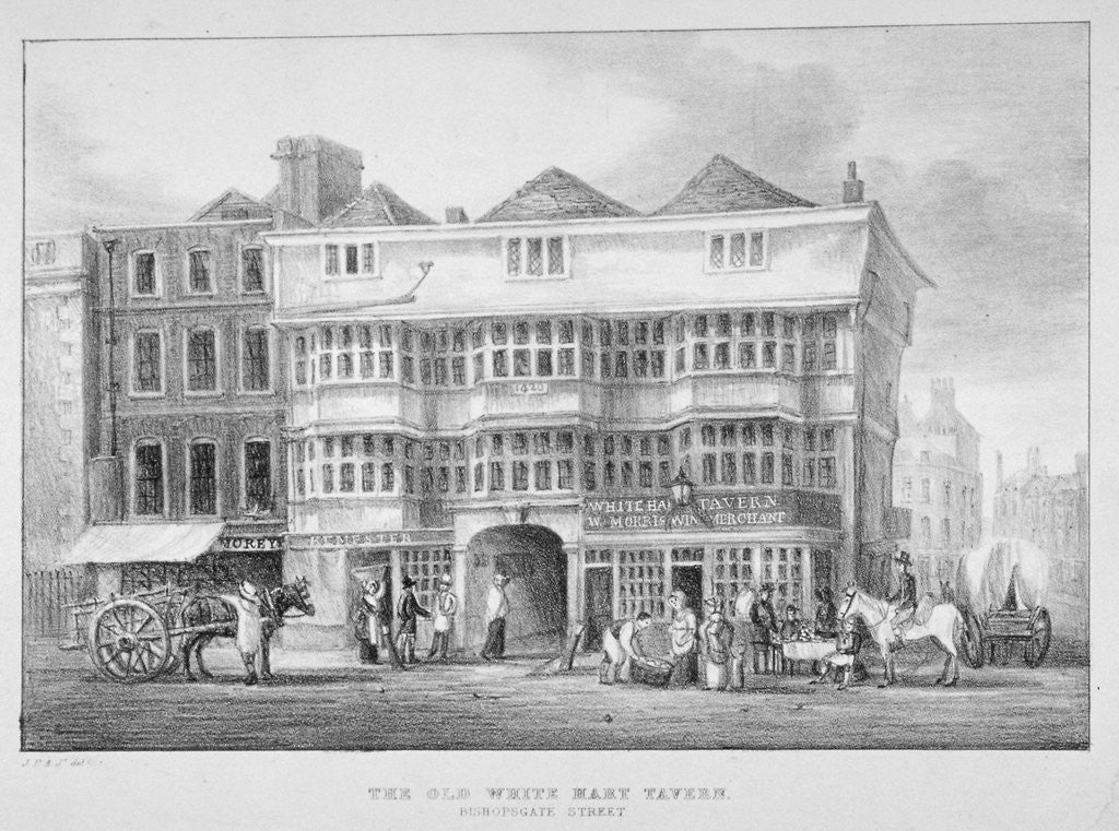 Detail of The White Hart Inn, Bishopsgate, City of London by Anonymous