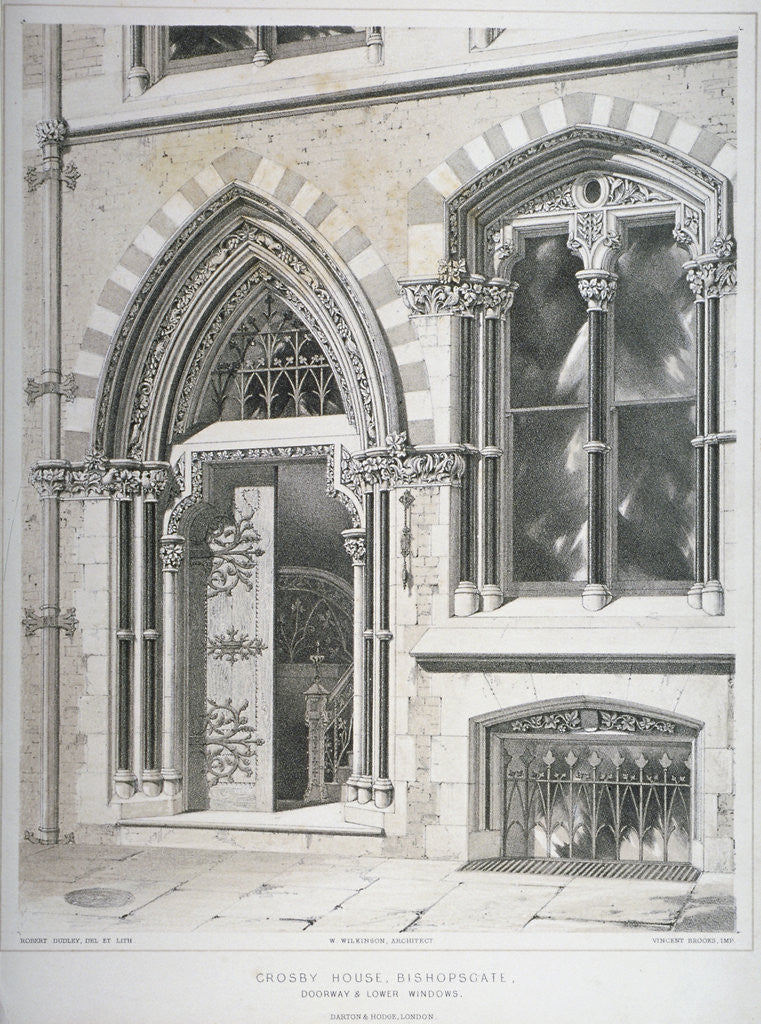 Detail of The doorway and lower windows of Crosby Hall at no 95 Bishopsgate, City of London by Vincent Brooks