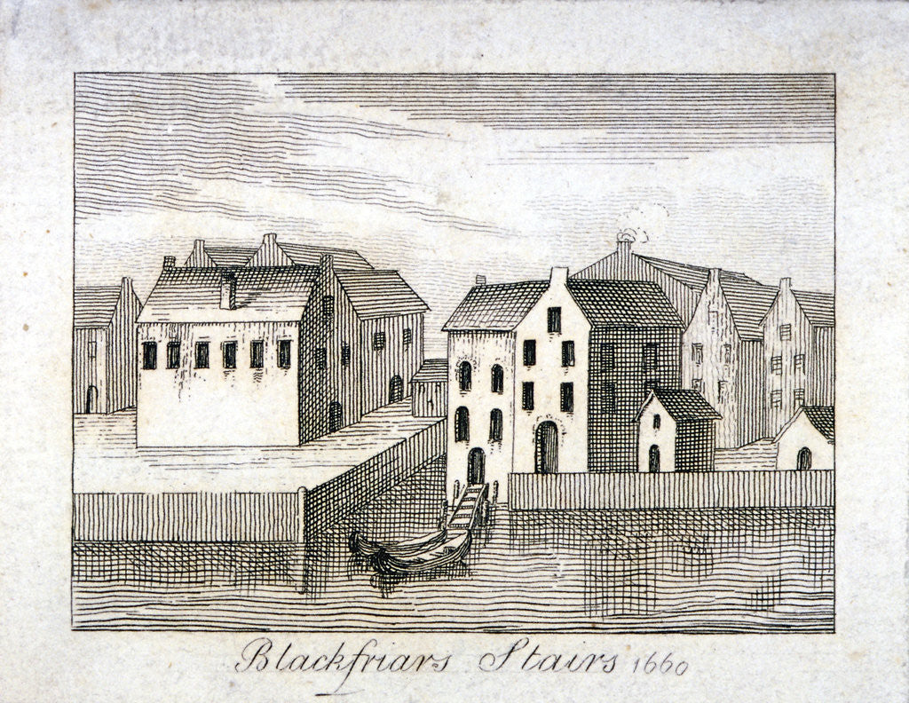 Detail of View of Blackfriars Stairs and surrounding buildings, City of London by Anonymous