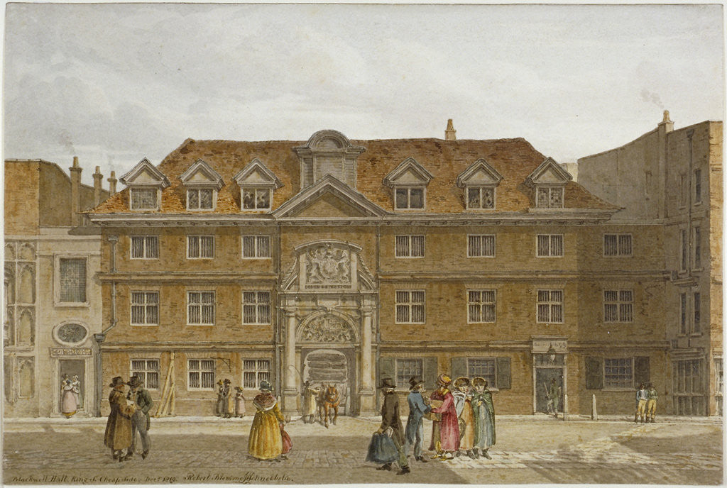 Detail of View of Blackwell Hall on King Street, City of London by Robert Blemmell Schnebbelie