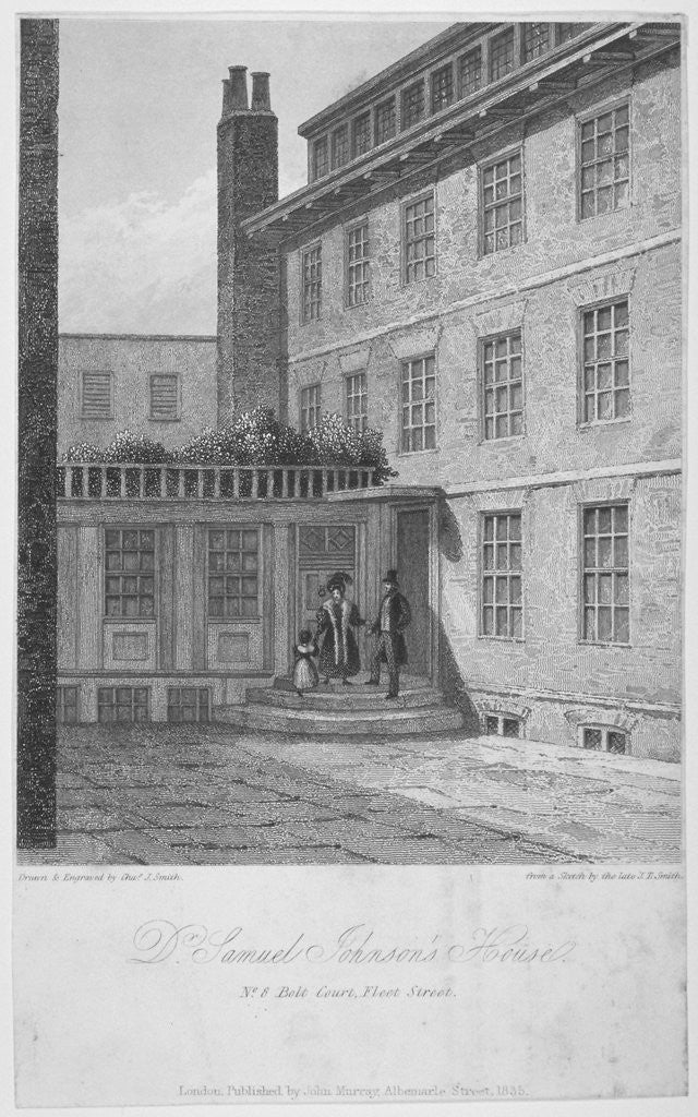 Detail of View of no 8 Bolt Court, where Dr Samuel Johnson lived, City of London by