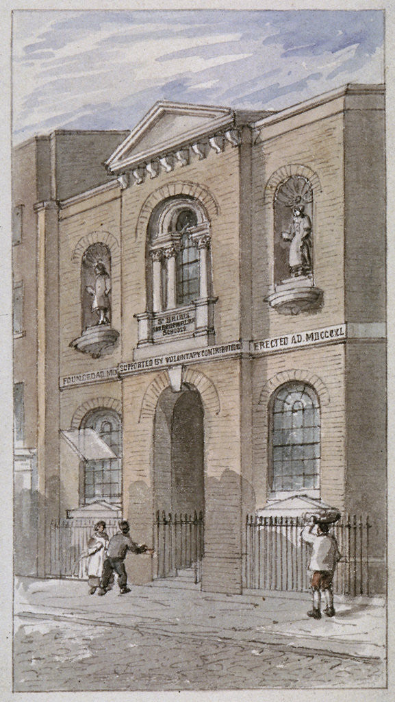 Detail of St Bride's Schools, Bride Lane, City of London by James Findlay