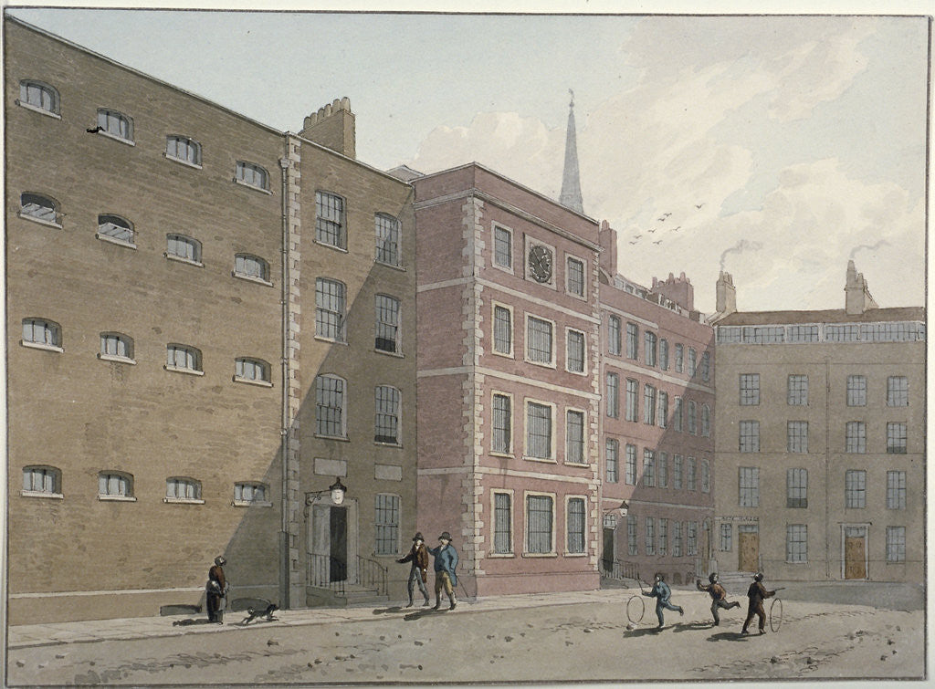 Detail of View of the quadrangle at Bridewell, City of London by George Shepherd