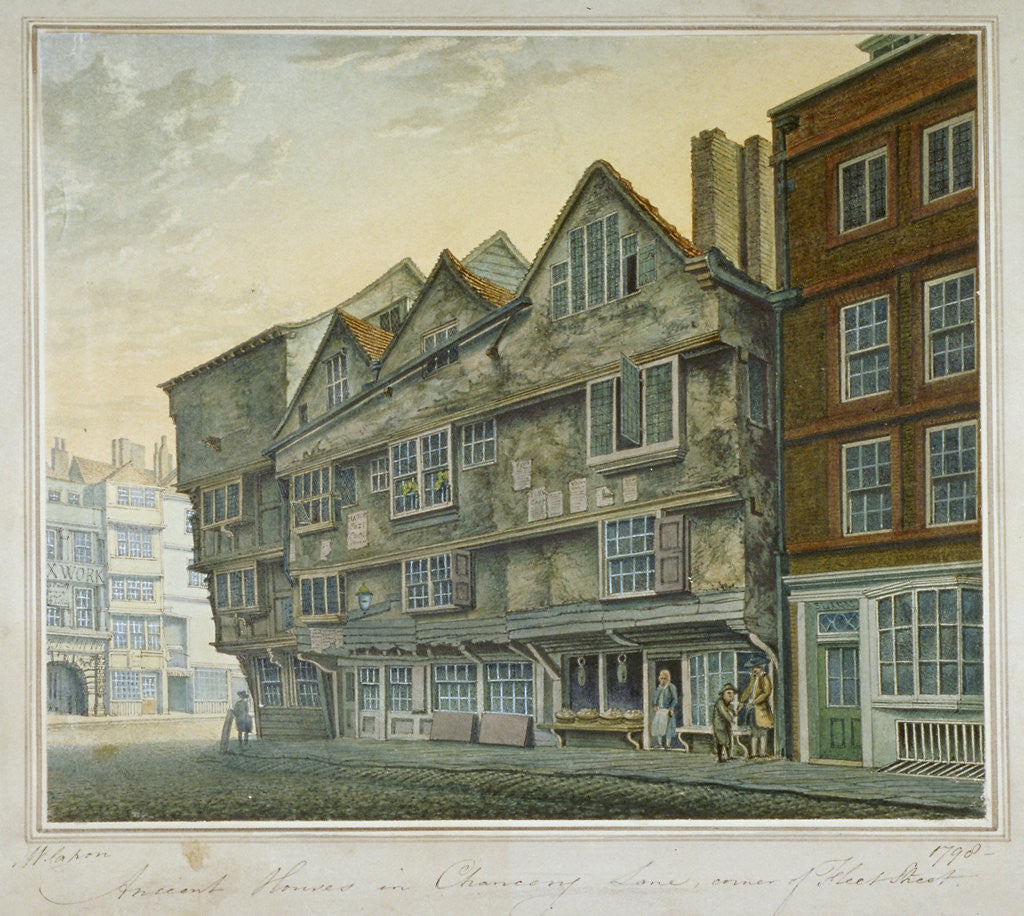 Detail of Houses on the corner of Chancery Lane and Fleet Street, City of London by William Capon