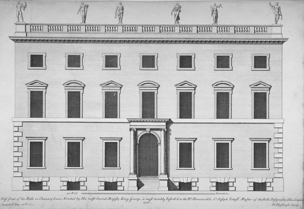 Detail of Elevation of the west front of the Rolls Office, Chancery Lane, City of London by Hendrick Hulsbergh