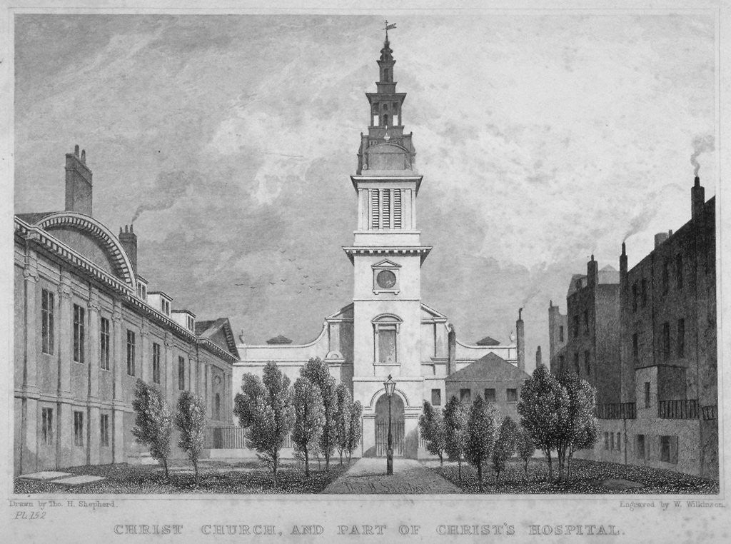 Detail of West view of Christ Church, Newgate Street, with part of Christ's Hospital, City of London by WS Wilkinson