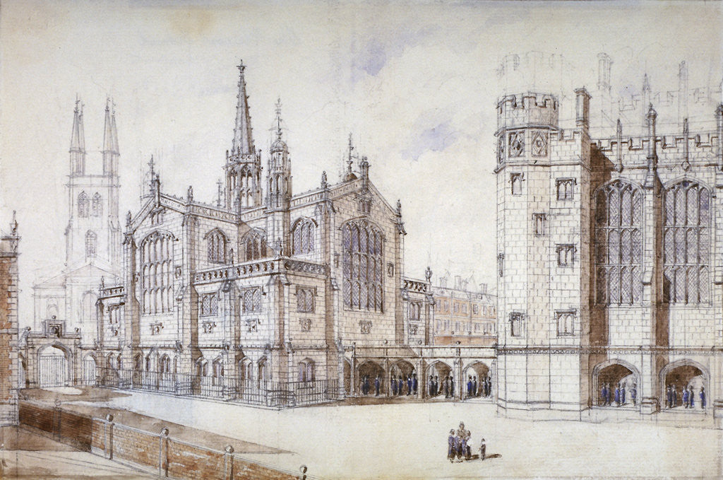 Detail of Christ Church, school hall and proposed new building, Christ's Hospital, City of London by Anonymous