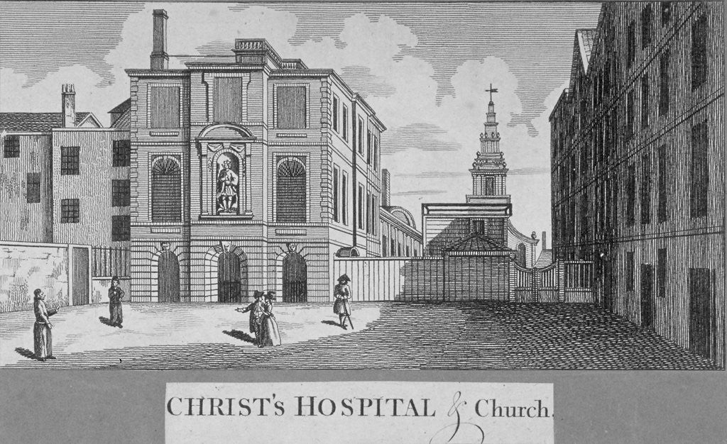 Detail of Christ's Hospital with Christ Church in the background, City of London by Taylor