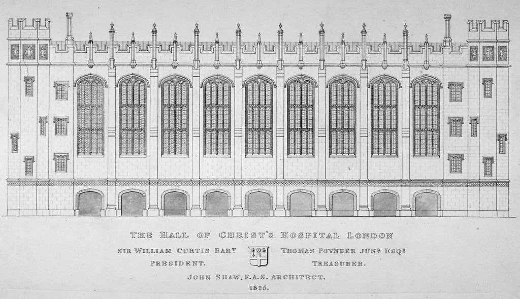 Detail of Elevation of the hall of Christ's Hospital, City of London by Anonymous