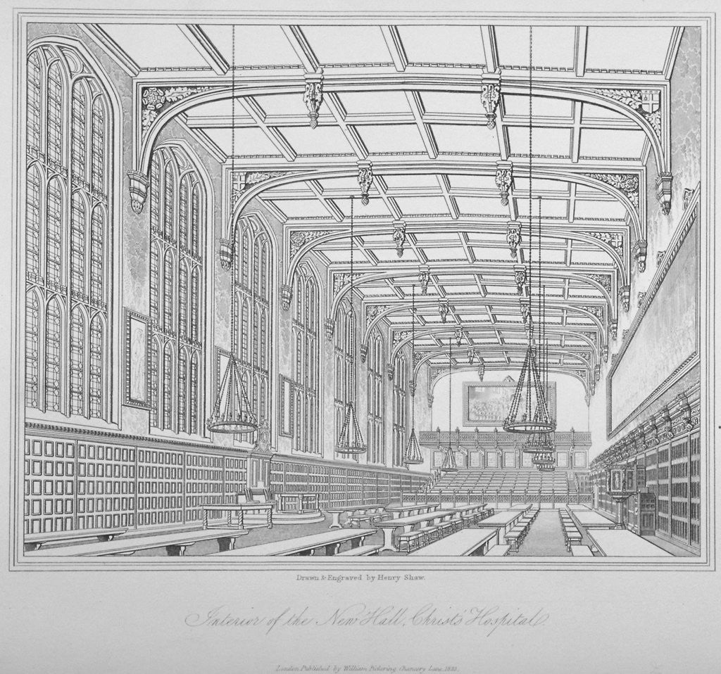 Detail of Interior view of the hall, Christ's Hospital, City of London by