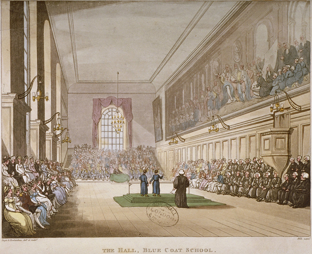 Detail of Interior view of the hall of Christ's Hospital, with an event taking place, City of London by