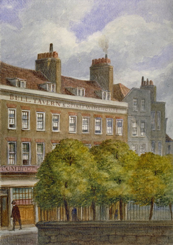Detail of View of the Bell Tavern, Church Row, Aldgate, City of London by JT Wilson